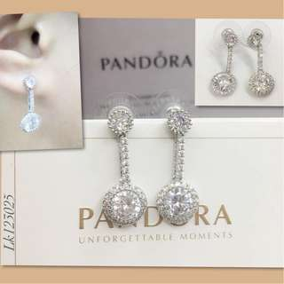 Pandora Italy White Gold 10K Stud Earrings with High Grade Russian Stones Saudi Gold 18K Authentic Bangkok Dangling Earrings (Not Pawnable)