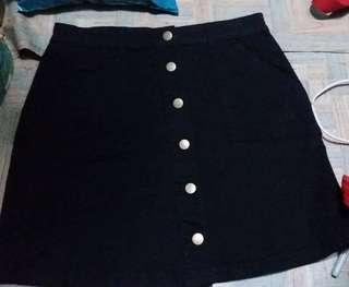 Black button down A line denim skirt waist 34