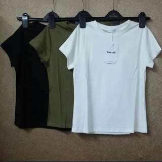 短袖純色T恤 白色 軍綠色 黑色 上衣 韓國