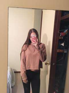 Nude/beige cropped hoodie