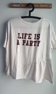 ZARA Life Is A Party tshirt