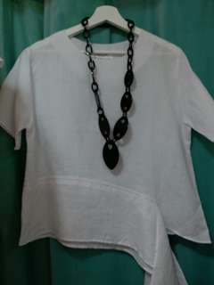 韓國 麻質白色t恤衫