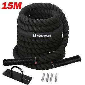 Voilamart Battle Battling Rope 15M Fitness Gym Strength Power Exercise Bootcamp Anchor