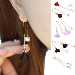 Korean Style Flower and Pearl Earrings