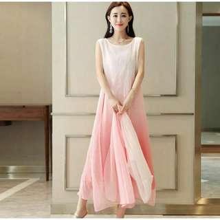 🚚 【智美精品屋】《預購款》二件式雪紡洋裝 繡花洋裝  無袖連身裙 長版洋裝 民族風洋裝 中國風洋裝