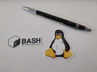 Sale for two sticker as shown, Official Bash and Linux Tux Penguin only.