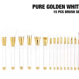 Pure golden white 15 pcs brush set