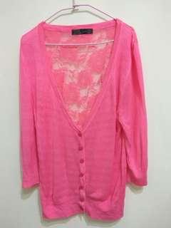 🚚 (近全新) 粉色蕾絲 背簍空 七分袖 針織外套