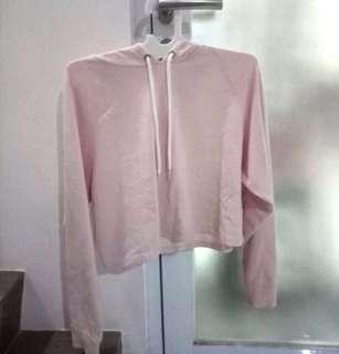 H&M hoodie crop pink