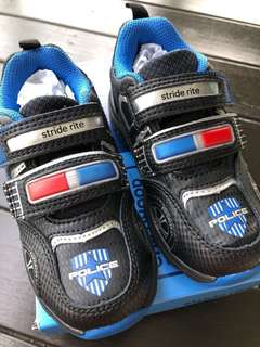 New Stride Rite Toddler Vroomz Police Cruiser With Lights Shoes 8M