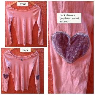 Bnew light pink top longsleeves (velvet heart elbow accent)
