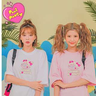 LEEGONG POOL PARTY tee 泳池派對系列✨ 大頭印花純棉寬鬆長版T恤上衣 ( CHUU 官網代購 )