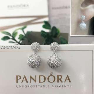 Pandora Italy White Gold 10K Stud Earrings with High Grade Russian Stones Saudi Gold 18K Dangling Earrings (Not Pawnable)