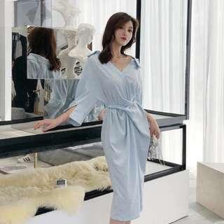 Blue Dress Chiffon wrap waist oversized style #july70