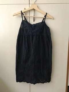 🚚 二手細肩帶可調整布蕾絲內搭襯裙短洋裝深藍色