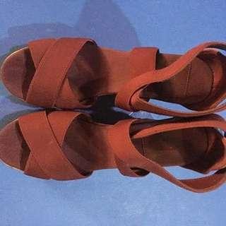 Lacoste Juinette Dark Red Wedge Heels (Original)