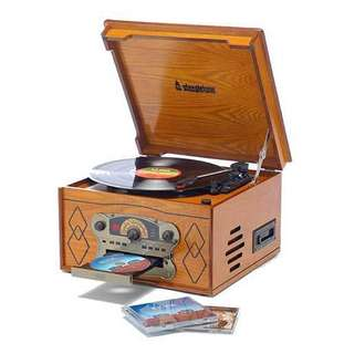 Steepletone Chichester II 4 in 1 light wood music centre Nostalgic Retro Wooden Music Centre - Record Deck Turntable - CD Player - Cassette Deck - MW / FM Radio - Built in Speakers (Ultra Compact) Real Wood - Light Oak effect (UK Mk II Model)