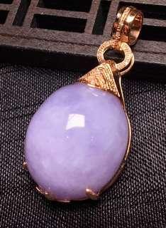 紫羅蘭18K金鑲嵌吊墜