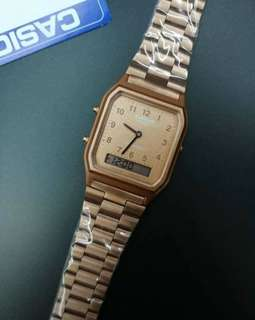 Casio water resistant rosegold watch oem
