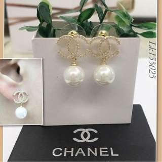 Chanel Italy Gold 10K Chanel Fresh Water Pearls Stud Earrings with High Grade Russian Stones Saudi Gold 18K Dangling Earrings (Not Pawnable)
