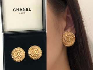💯正品 Auth Chanel cc logo vintage 經典復古風格金色耳環