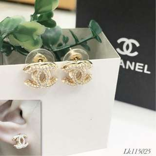 Chanel Italy Gold 10K Chanel Stud Earrings with High Grade Russian Stones Saudi Gold 18K Women's Stud Earrings (Not Pawnable)