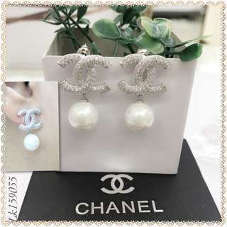 Chanel Italy White Gold 10K Chanel Fresh Water Pearls Stud Earrings with High Grade Russian Stones Saudi Gold 18K Dangling Earrings (Not Pawnable)