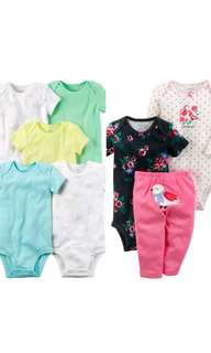 100% Authentic CARTERS 2 sets of  5pc & 3pc Baby Girl Clothing for 12months