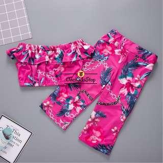 Girl 2-pcs Crop Top and Pants
