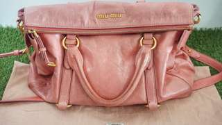 Authentic Miu Miu Vitello Lux Bow 2 way Tote