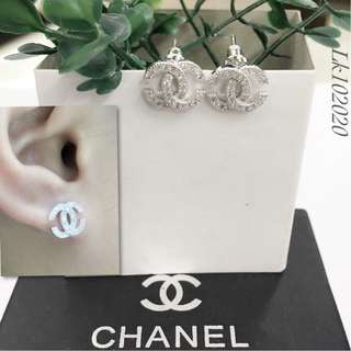 Chanel Italy White Gold 10K Chanel Stud Earrings with High Grade Russian Stones Saudi Gold 18K Women's Stud Earrings (Not Pawnable)