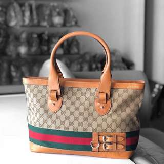 Authentic Gucci Heritage Brown Leather Tote Bag
