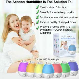 (150) Aennon Cool Mist Humidifier, 2.8L Ultrasonic Humidifiers for 20 Hours+ Use, Whisper-Quiet, 7 Color LED Lights, Auto Shut-off For Home Bedroom Baby Room Office