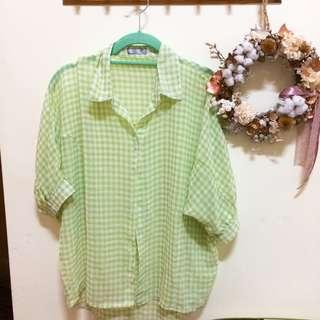 🚚 綠色格紋襯衫