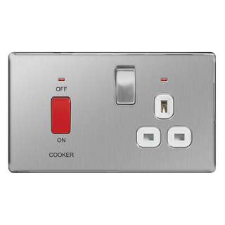 BG, Screwless Flat Plate 45A Single Cooker Switch & Plug Socket, Brushed Steel Finish, Grey Inserts