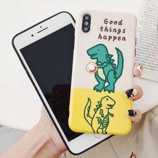 手機殼IPhone6/7/8/plus/X : 可愛笑臉恐龍全包黑邊磨砂軟殼