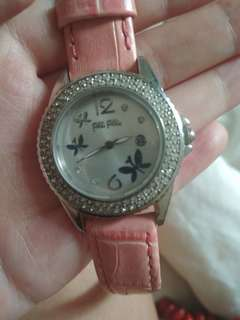 Folli follie butterfly watch wuth pink leather strap