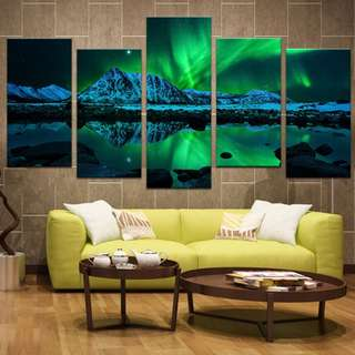 (Framed) 5 Pieces Northern Lights Canvas Set
