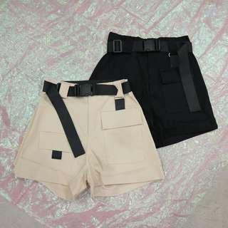 塑膠安全扣皮帶造型中性短褲