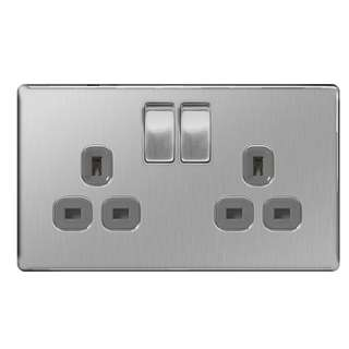 BG, Screwless Flat Plate Double 13A Plug Socket, Brushed Steel Finish, Grey Inserts