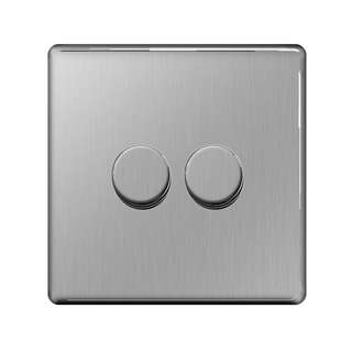 BG, Screwless Flat Plate Double Dimmer Switch, Push On/Off 400W, Brushed Steel Finish
