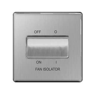 BG, Screwless Flat Plate 10A 3 Pole Fan Isolator Switch, Brushed Steel Finish