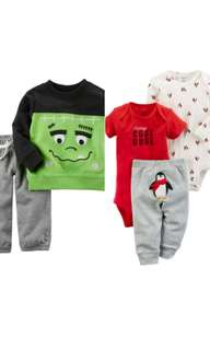 100% Authentic CARTERS 2 sets of 2pc & 3pc Baby Boy Clothing  for 6months
