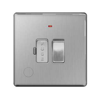 BG, Screwless Flat Plate 13A Switched Fused Connection Unit, Neon Indicator, Flex Outlet, Brushed Steel Finish