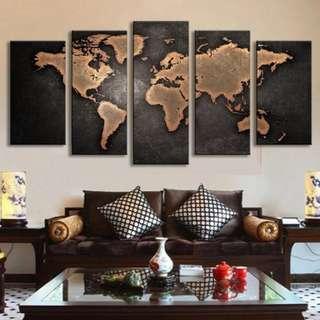 (Framed) World Map Canvas Set