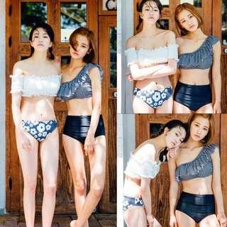 ✔Ruffles Checkered 2 Way-wear Off-shoulder High Waist Push-up Padded 2 Pc Bikini Swimsuit (Black)