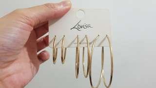 LOVISA gold hoop earrings - 3 pack of different sizes