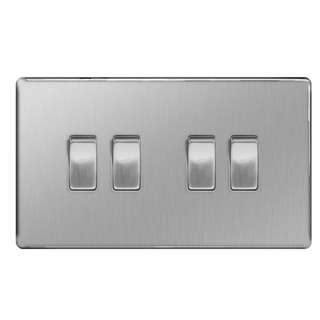 BG, Screwless Flat Plate 10A Four Way Light Switch, Brushed Steel Finish