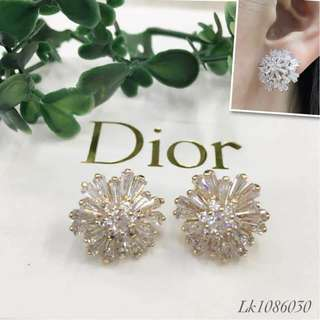 Dior Italy Gold 10K Stud Earrings with High Grade Russian Stones Saudi Gold 18K Authentic Bangkok Women's Stud Earrings (Not Pawnable)