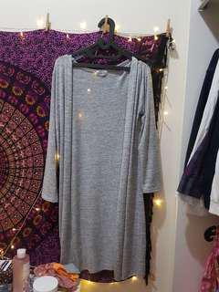 Long grey cardigan outer